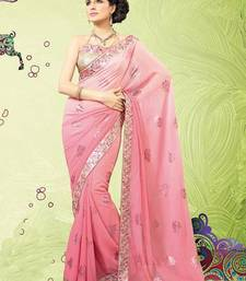 Ornate Onion Pink Saree with Blouse