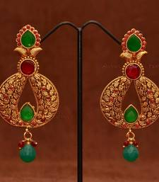 Anvi's Classic leaf work chand bali with rubies and emeralds    shop online