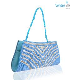 Buy Vendee Lifestyle Sky Blue Beads Clutch (7320) clutch online