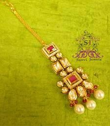 Buy Ruby Kundan Meena & Pearl Tikka  maang-tikka online