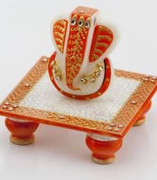 Buy diwali decoration ideas Marvel In Marble - Gold Embossed Lord Ganesh With Chowki_51 ganesh-chaturthi-gift online