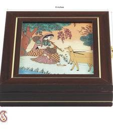 Buy Indian Girl Musican Gem Box with Stone Inlay work jewellery-box online