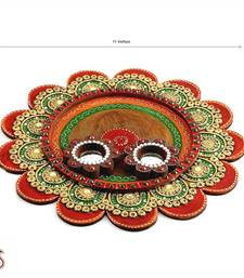 Buy painted clay work wooden pooja thali online for Aarti thali decoration with clay