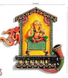Buy Lord Ganesh and Om wall hanging in wood and clay other-home-accessory online