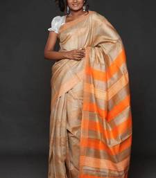 Buy Handwoven Tusser Silk Saree - ECO STREE silk-saree online