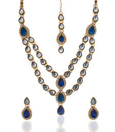 Buy Ethnic Indian Jewelry Bridal Deep Blue Victorian Kundan Like Necklace Set b161b necklace-set online