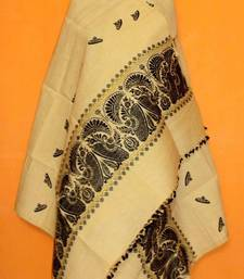 Pure Eri & Muga mix Silk Shawl from Assam-Black weaving with Guna work