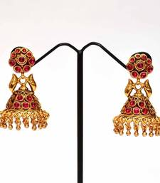 Buy Anvi's kempu earrings with beautiful jhumkas jhumka online