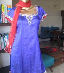 Buy Bluish Purple Raw Silk Kurta kurtas-and-kurti online