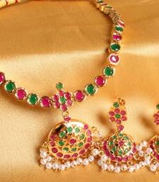 Buy GORGEOUS SEMI PRECIOUS RUBY EMERALD GOLD PLATED SOUTH INDIAN STYLE NECKLACE SET necklace-set online