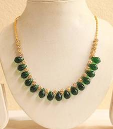 Buy BEAUTIFUL SIMULATED EMERALD BEADS STONE NECKLACE  Necklace online