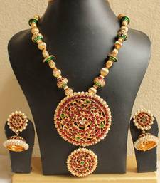 Buy STUNNING BEAUTIFUL HUGE TEMPLE PENDANT NECKLACE SET necklace-set online