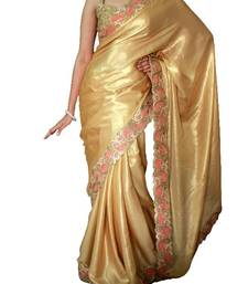Buy Golden satin saree with cutowork border satin-saree online
