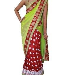 Buy Pista green and Magenta Lehenga saree with white embroidery work wedding-saree online
