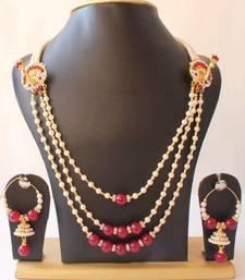 Buy GORGEOUS UNIQUE PEACOCK MUGAPPU PEARL BRIDAL NECKLACE SET necklace-set online