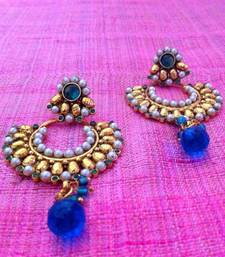 Buy Turquoise Firozi beautiful ethnic earrings with pearl stones and pearls by adiva c99t Earring online