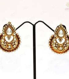 Anvi's chandbali with uncut stones and pearls shop online