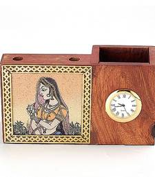 Buy Real Gem Stone Pen Holder With Watch-012 engineers-day-gift online