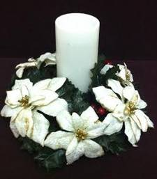Buy White Ponsettias candle holder for Christmas gifts and decoration christmas-gift online