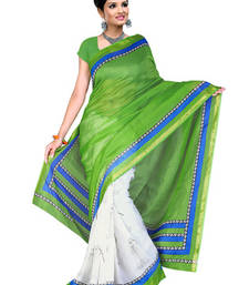 Buy Fabdeal Peacock Green Silk Kota Printed Saree art-silk-saree online