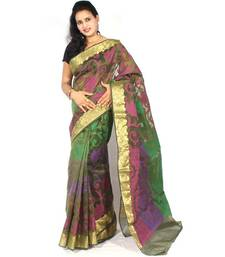 Buy Fancy Moonga Check Banarasi Multi Aanchal Border Saree supernet-saree online
