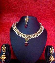 Buy Red green white stone pearl paisley necklace set v334 Necklace online