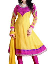 Beautiful Pink & Yellow Georgette Embroidered Anarkali Suit Material D.No TV706 shop online