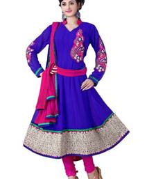 Alluring Navy Blue & Pink Semi-Stitched Georgette Embroidered  Anarkali  Suit D.No ZO7502 shop online