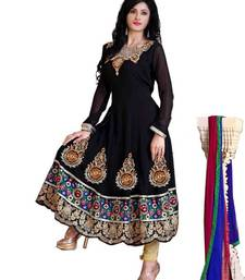 Buy Radiant Black Semi-Stitched Georgette Embroidered  Anarkali  Suit D.No ZO7503 dress-material online