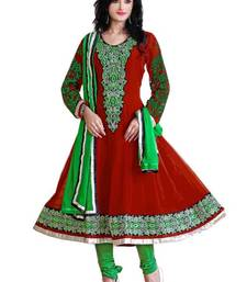 Charming Red & Green Semi-Stitched Georgette Embroidered  Anarkali  Suit D.No ZO7508 shop online