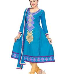 Buy Radiant Turquoise Semi-Stitched Cotton Embroidered Anarkali Suit with Chiffon Dupatta D.No BA8603 dress-material online