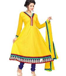 Buy Gorgeous Yellow Semi-Stitched Cotton Embroidered Anarkali Suit with Chiffon Dupatta D.No BA8610 dress-material online