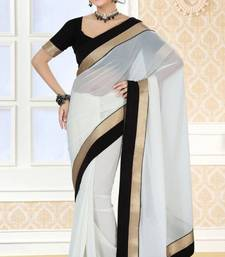 Buy Graceful Party Wear White Color Faux Georgette Designer Saree with Blouse  georgette-saree online