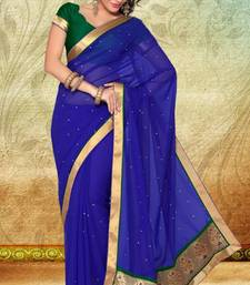 Buy Royal Blue Party Wear Faux Georgette Saree with Blouse georgette-saree online