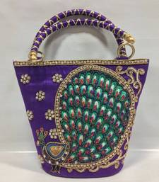 Buy Peacock Design Embroidery Handbag in Purple clutch online