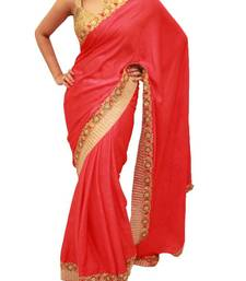 Buy Tomato Red Satin Velvet saree with Antique Gold border satin-saree online