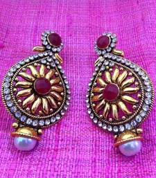 Buy Maroon golden sunflower pearl polki earring j74rg gifts-for-mom online
