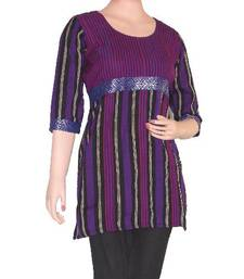 Buy Ethnic Touch - Black,Purple and Maroon Kurti with weaving patch kurtas-and-kurti online