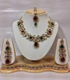 Buy Beautiful Kundan Jewelry Set in Maroon and Green necklace-set online