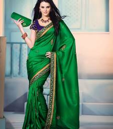 Buy Green Silk With Designer Border Saree 3704 art-silk-saree online