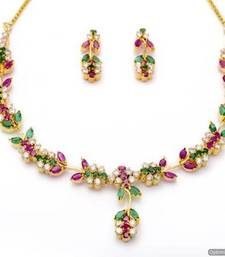 Buy LILY NECKLACE SET WITH EARRINGS (AD RUBY EMRALD) - PCN1057 necklace-set online