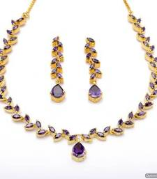 Buy FLOWER LEAF NECKLACE SET WITH EARRINGS (VIOLET) - PCN1074 Necklace online