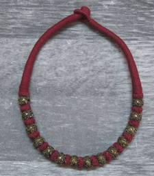 Buy maroon antique gold necklace Necklace online