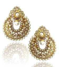 Buy Beautiful White Pearl Polki Earrings by ADIVA ABCHI0BCD006 TDS 2 danglers-drop online