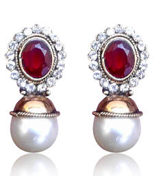 Elegant Red stone with Pearl Earring By Adiva V74M DDS 13 shop online