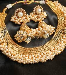 Buy GORGEOUS ANTIQUE PEARL CLUSTER BEAUTIFUL NECKLACE SET south-indian-jewellery online