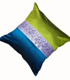 Buy Mulberry Silk Cushions with applique patterns - Peacock Green & Blue pillow-cover online