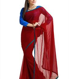Buy Maroon chiffon saree with unstitched blouse (bvr935) chiffon-saree online
