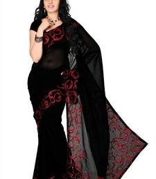 Buy Black faux georgette saree with unstitched blouse (cnc1170) georgette-saree online
