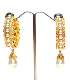Anvi's pearl earrings studded with czs and pearl droplet shop online